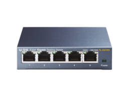 TP-LINK TL-SG105 5-Port 10/100/1000Mbps Desktop Gigabit Steel Cased Switch, IEEE 802.1p QoS, Up to 65% Power Saving