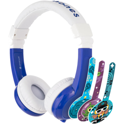 "HP Chromebook 12"" x360 + Blue BuddyPhone Explorer Kids Wired Headset Bundle - Right"