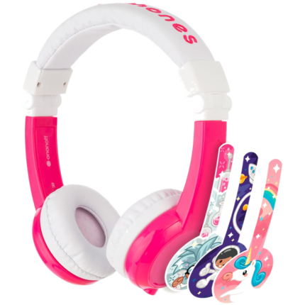 "HP Chromebook 12"" x360 + Pink BuddyPhone Explorer Kids Wired Headset Bundle - Right"