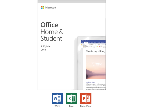 Microsoft Office 2019 Home & Student - License - Windows 10 PC/Mac, 1 Device [Microsoft Office 2019 Home & Student - License - 1 PC/Mac, 1 Device - Download - All Languages - Intel-based Mac, PC]