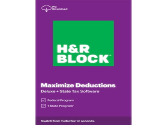 H&R Block 2020 Deluxe + State Tax Software - License - 1 User|1316800-20