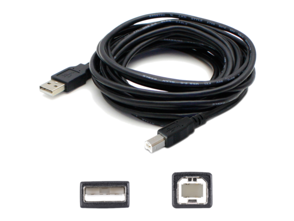 AddOn 15ft USB 2.0 (A) Male to USB 2.0 (B) Male Black Cable USBEXTAB15